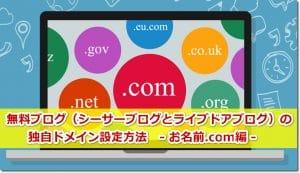 無料ブログ(シーサーブログとライブドアブログ)の独自ドメイン設定方法 お名前.com編