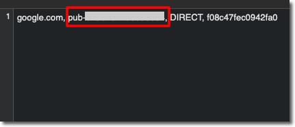 コピーしたサイト運営者IDをテキストエディタに貼り付けた「pub-0000000000000000」と置き換え
